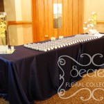 Navy Blue Receiving Table with Orchid Arrangements