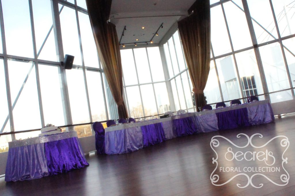 Purple And Lavender Head And Cake Table Wrapped In Crystallized Bling Ribbon