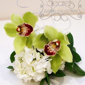 Green Cymbidium Orchids and White Hydrangea Cake Topper