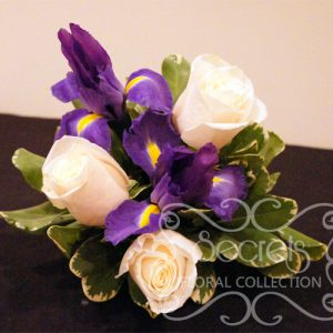 Fresh Cream Roses, Purple Iris, and Pittosporum Cake Topper in Small Size