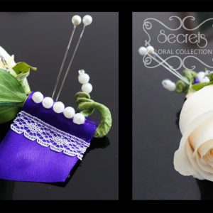 Fresh cream rose and purple limonium boutonniere, with purple wrap and embellished with lace and pearls (close-ups) - Toronto Wedding Flowers Created by Secrets Floral Collection