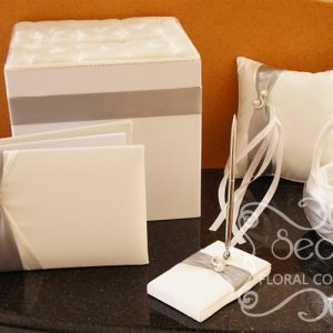 Silver Wedding Accessories with Pearl Accent (Guest Book, Money Box, Signing Pen, Ring Pillow, Flower Girl Basket)