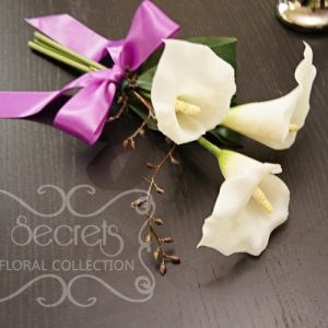 Maid of Honour Bouquet -- Artificial White 3-bloom Calla Lilies and Brown Eucalyptus Seeds with Lavender Satin Bow