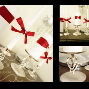 Customized Red Unity Candle Set on Rhinestone Double-Hearts Stands