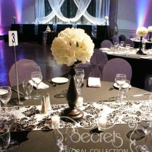 Ivory Rose Ball on Black Stand Centrepiece