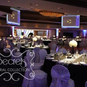 Black Guest Tables with Damask Runners and White Brocade Chair Covers