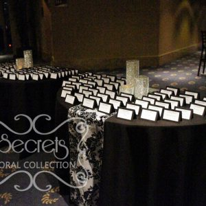 Black Place Card Tables with Damask Runners