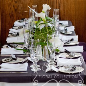 Artifcial White Calla Lilies on Moss Mat Guest Table Centrepiece, with Table Number (Side View)