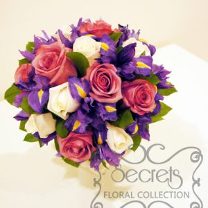 Fresh Lavender Roses, Cream Roses, and Purple Iris Bridal Bouquet with Lavender Satin Ribbon Wrap (Top View)