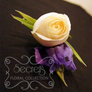 Fresh Cream Rose and Purple Iris Boutonniere with Diamond Pin for the Groom (Top View)