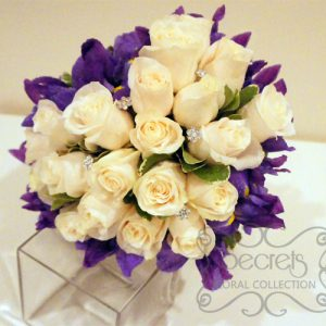 Fresh Cream Roses, Purple Iris, and Pittosporum Heart-Shaped Bridal Bouquet with Swarovski Crystal Jewel Picks (Top View)
