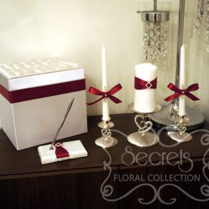 Wedding Accessories Embellished in Red Satin and Rhinestone Embellishments