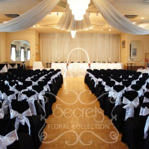 The Hall at Qssis, with White Sheer Ceiling Drapes