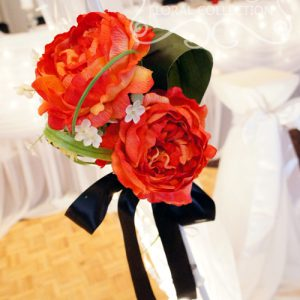 Close-Up of Red Peonies Bouquet, Used As Pull-Back for the Arch