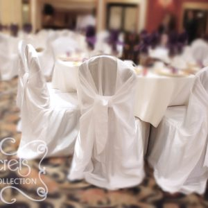 Guest Tables with White Crushed Taffeta Chair Covers