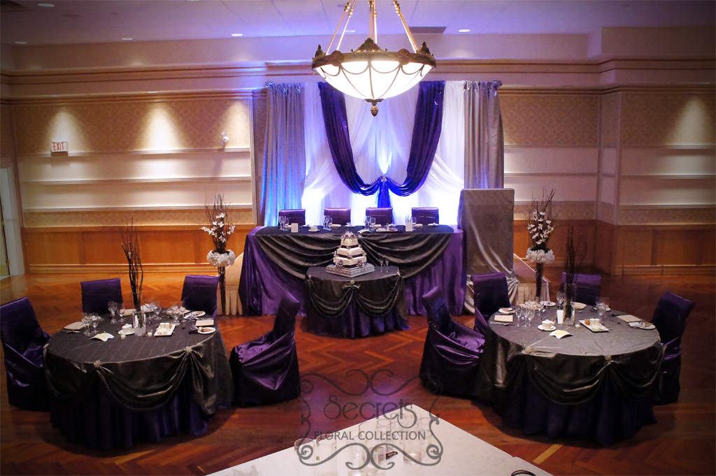 Royal Purple And Gold Wedding Decor  from secretsfloral.com