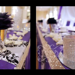 Head table is decorated with bling bling candle holders, stemmed glass candled holders, purple feather ball, and sprinkled with diamond confetti and rose petals - Toronto Wedding Decor Created by Secrets Floral Collection