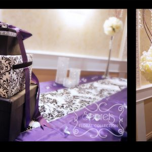 Purple receiving table with 3-tier damask money box - Toronto Wedding Decor Created by Secrets Floral Collection