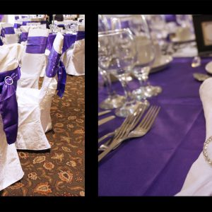 Both the sashes and napkins are hold with Swarovski crystal buckles - Toronto Wedding Decor Created by Secrets Floral Collection