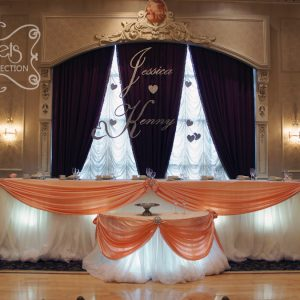 Silver styrofoam lettering of the couple's name - Toronto Wedding Decor Created by Secrets Floral Collection
