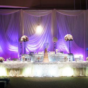 A Cream and Pink Wedding Reception Decoration Filled with Crystals and Ruffles at Paramount Conference & Event Venue - Toronto Wedding Decor Created by Secrets Floral Collection