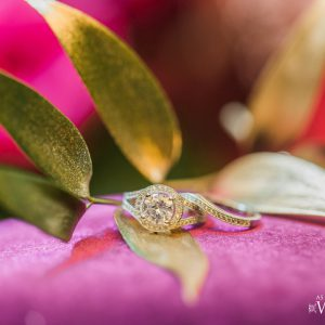 Detail shot of engagement ring at the Victorian Convention centre, Missisauga. Floral by Secrets Floral