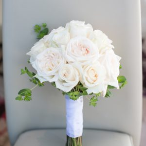 Bridal bouquet with white and cream garden roses. Toronto wedding flower by Secrets Floral.